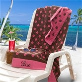 Embroidered Pink/Brown Polka Dot Towel - 9789-P