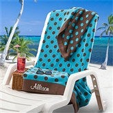 Embroidered Blue/Brown Polka Dot Towel - 9789-B