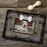 Throw Me A Bone Black Pet Photo Meal Mat - 9852-BLK