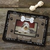 Throw Me A Bone Personalized Photo Dog Food Mat - Black - 9852-BLK