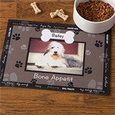 Throw Me A Bone© Black Pet Photo Meal Mat - 9852-BLK