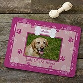 Throw Me A Bone Personalized Photo Dog Food Mat - Pink - 9852-P