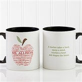 Apple Scroll Personalized Teacher Coffee Mug 11oz.- Black - 9915-B