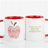 Apple Scroll Personalized Teacher Coffee Mug 11oz.- Red - 9915-R