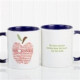 Apple Scroll Personalized Teacher Coffee Mug 11oz.- Blue - 9915-BL