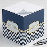 Personalized Paper Note Cubes - Preppy Chic - 16502