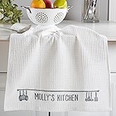 Personalized Kitchen Towel Set - Waffle Weave - Seasoned With Love - 16530