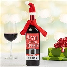 Personalized Holiday Santa Wine Bottle Labels - 16536