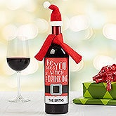 Personalized Holiday Wine Bottle Labels - He Sees You When You're Drinking - 16536