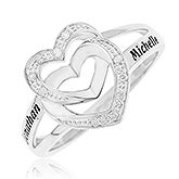 Personalized Sterling Silver Diamond Ring - Interlocking Hearts - 16552D