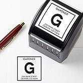 Personalized Address Stamper - Square Initial Monogram - 16562