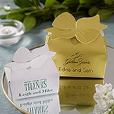 Personalized Bow Top Custom Wedding Favor Boxes - 1659D