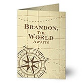 Personalized Graduation Greeting Card - Compass Inspired - 16607