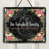 Personalized Welcome Sign Slate Plaque - Posh Floral - 16635
