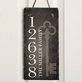 Charming Personalized Slate Address Plaque   House Key   16638