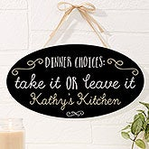 Personalized Kitchen Oval Wood Sign - Sassy Kitchen Quotes - 16647