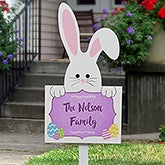 Easter Bunny Outdoor Personalized Family Name Wood Stake  - 16651