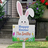 Personalized Easter Family Name Outdoor Wood Stake - Easter Bunny Hunt - 16652