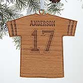 Personalized Football Jersey Christmas Ornament - Wood - 16661