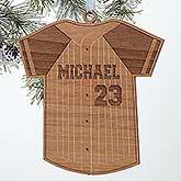 Personalized Baseball Jersey Christmas Ornament - Wood - 16662