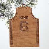 Personalized Sports Christmas Ornaments - Basketball Jersey - Wood - 16663
