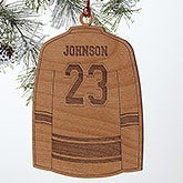 Personalized Sports Christmas Ornaments - Hockey Jersey - Wood - 16664