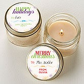 Personalized Christmas Candle Favors - Holiday Wishes Mini Mason Jars - 16686