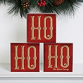 Personalized Christmas Shelf Blocks - Ho Ho Ho Santa - 16705