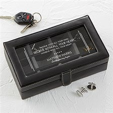 Personalized Black Leather Accessory Box - 12 Slots - 16713
