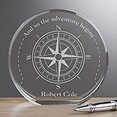 Personalized Premium Crystal Award - Compass Inspired - 16716