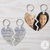 Personalized Break Apart Heart Keyring - Best Friends - 16750