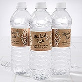 Personalized Wedding Water Bottle Label - Rustic Chic Wedding - 16845