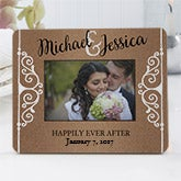 Personalized Mini Wedding Favor Frame - Rustic Chic Wedding - 16847