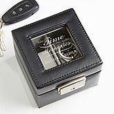Engraved Leather 2 Slot Watch Box - Gift Of Time - 16854