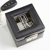 Engraved Leather 2 Slot Watch Box - Square Monogram - 16855