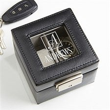 Engraved Leather 2 Slot Watch Box - Square Monogram - 16855