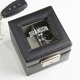 Engraved Leather 2-Slot Watch Box - Groomsman - 16856