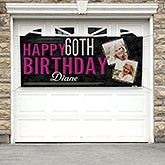 Personalized Birthday Photo Banner - Vintage Age Birthday - 16869