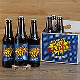 Personalized Beer Bottle Labels & Carrier - Super Hero - 16879