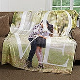 Personalized LOVE Photo Fleece Blanket - 16883