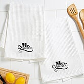 Personalized Mr and Mrs Kitchen Towel Set - Happy Couple - 16884