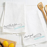 Personalized Waffle Weave Kitchen Towels Set Of 2 - Kitchen Puns - 16886