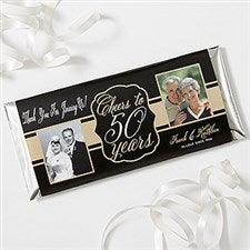 Personalized Anniversary Candy Bar Wrappers - Cheers To Then & Now - 16904