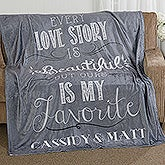 Love Story Personalized Couples Fleece Blankets - 16911