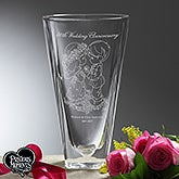 Personalized Anniversary Etched Crystal Vase - Precious Moments Happy Couple - 16922