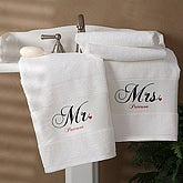 Personalized Cotton Bath Towel Set - Mr and Mrs Collection - 1695