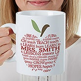 Personalized Teacher XL Coffee Mug - Apple Scroll - 16951