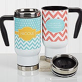 Personalized Commuter Travel Mug - Preppy Chic - 16970