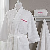 Embroidered White Robe & Makeup Bag - 17001