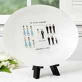 Personalized Glass Wedding Platter - Wedding Party Characters - 17009